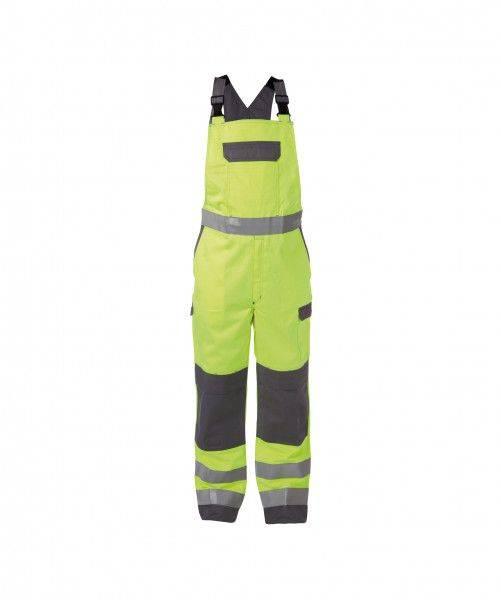 Zweifarbige Multinorm Warnschutz Latzhose mit Kniepolstertaschen COLOMBIA, 330 g/m², PLUS